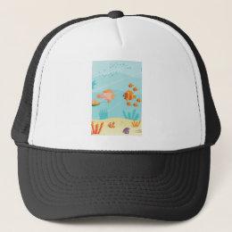 Happy Cartoon Fish Families Trucker Hat