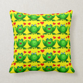 Happy Cartoon Frogs Love Hearts Cheerful Yellow Throw Pillow