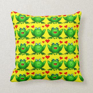 Happy Cartoon Frogs Love Hearts Cheerful Yellow Throw Pillow