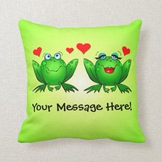Happy Cartoon Frogs Love Hearts Green Throw Pillow