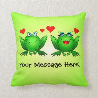 Happy Cartoon Frogs Love Hearts Green Throw Pillow