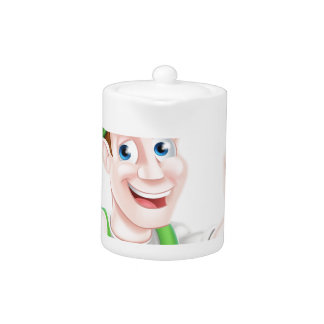 Happy Cartoon Gardener Teapot