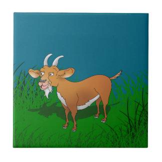 Happy cartoon goat ceramic tile