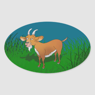 Happy cartoon goat oval sticker