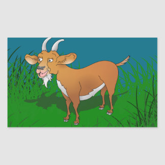 Happy cartoon goat rectangular sticker