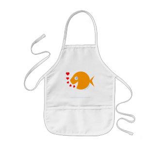 Happy Cartoon Goldfish Child Artist Kids Art Smock Kids' Apron