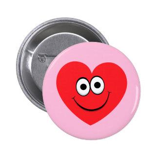 Happy cartoon heart on pink background button