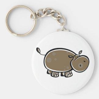 Happy Cartoon Hippo Basic Round Button Keychain