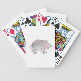 Happy cartoon hippo bicycle playing cards