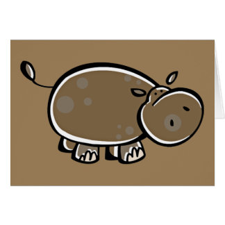 Happy Cartoon Hippo Greeting Card