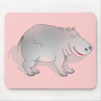 Happy cartoon hippo mouse pad