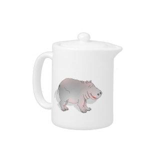 Happy cartoon hippo teapot