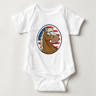 Happy Cartoon Horse In Front Of Flag Of USA Baby Bodysuit