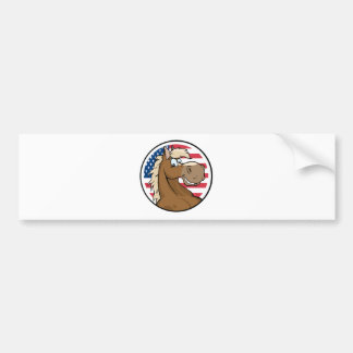 Happy Cartoon Horse In Front Of Flag Of USA Bumper Sticker