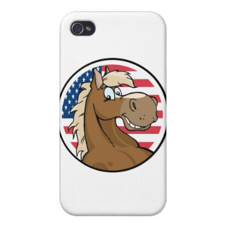 Happy Cartoon Horse In Front Of Flag Of USA iPhone 4 Case