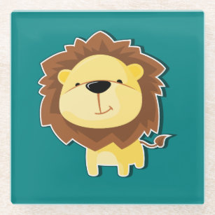 Happy Cartoon Lion Male with Teal Background Glass Coaster