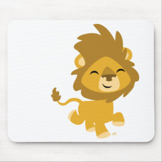 Happy Cartoon Lion round sticker Mouse Pad