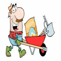 happy cartoon man gardening gardener cutout