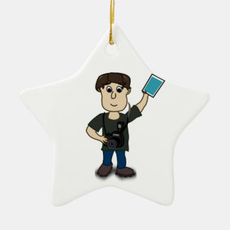 Happy Cartoon Photographer Man Holding SLR Camera Ceramic Ornament