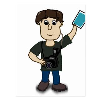 Happy Cartoon Photographer Man Holding SLR Camera Postcard