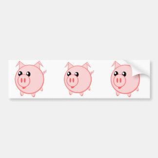 Happy Cartoon Pig Bumper Sticker