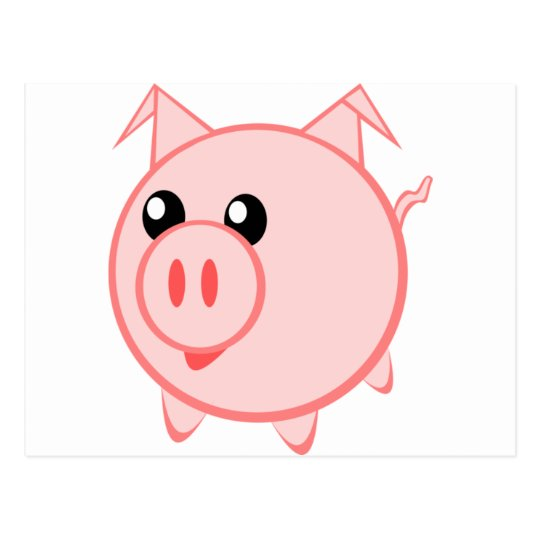 Happy Cartoon Pig Postcard