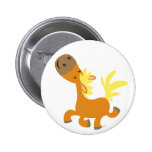 Happy Cartoon Pony button badge