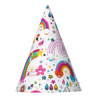 Happy Cartoon Rainbows and Shapes Seamless Pattern Party Hat
