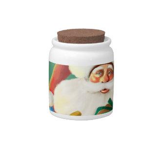 happy cartoon santa Candy Jar