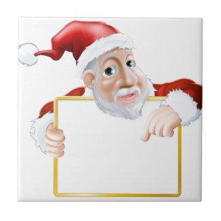 Happy cartoon Santa holding sign Ceramic Tiles