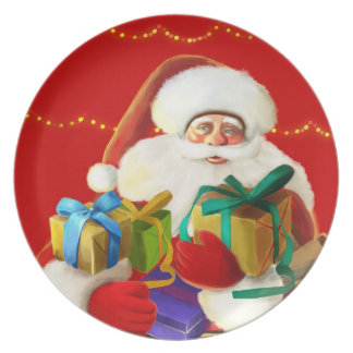 happy cartoon santa Plate