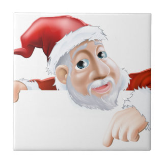 Happy cartoon Santa pointing down Ceramic Tile
