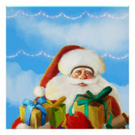 happy cartoon santa Poster