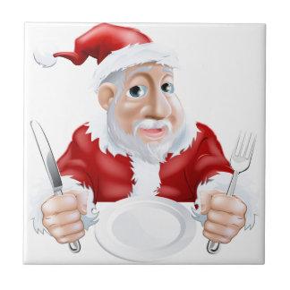Happy cartoon Santa Ready for Christmas Dinner Tiles