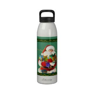 happy cartoon santa water bottle