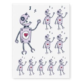 Happy Cartoon Singing Robot Temporary Tattoos