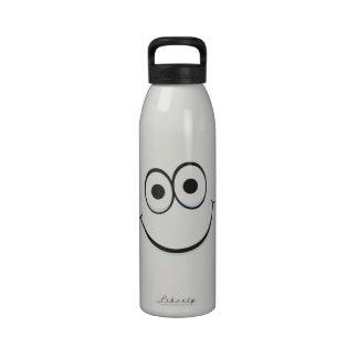 Happy cartoon smiley face custom water bottle