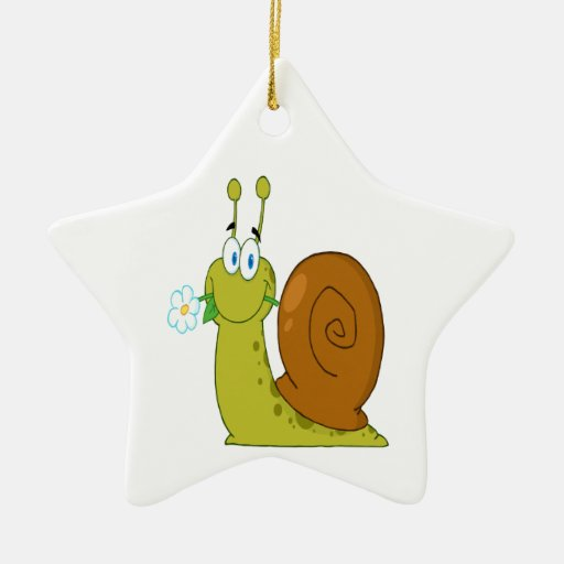 happy cartoon snail with flower Double-Sided star ceramic christmas ornament