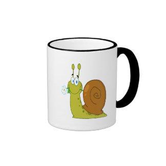 happy cartoon snail with flower ringer coffee mug