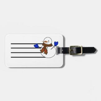Happy Cartoon Snowman w/Blue Mittens Luggage Tag