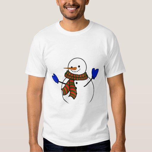 Happy Cartoon Snowman w/Blue Mittens Tee Shirts