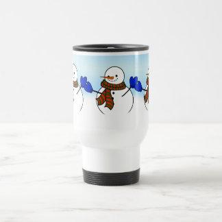 Happy Cartoon Snowman w/Blue Mittens Travel Mug