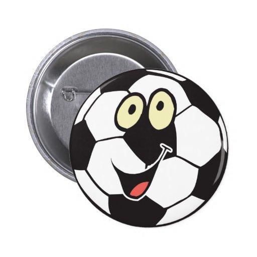happy cartoon soccer ball button