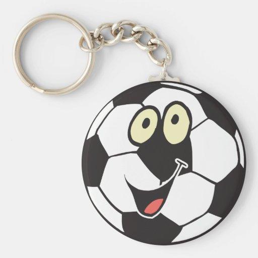 happy cartoon soccer ball keychains