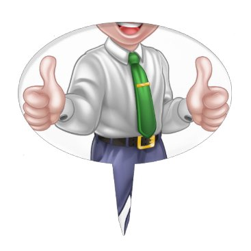 Professional Business Happy Cartoon Thumbs Up Man Cake Topper
