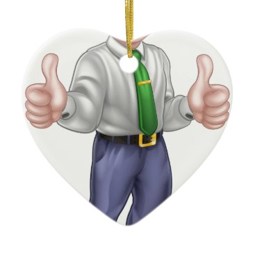 Happy Cartoon Thumbs Up Man Ceramic Ornament