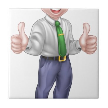 Professional Business Happy Cartoon Thumbs Up Man Ceramic Tile