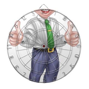 Happy Cartoon Thumbs Up Man Dartboard With Darts