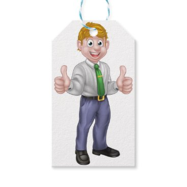 Professional Business Happy Cartoon Thumbs Up Man Gift Tags
