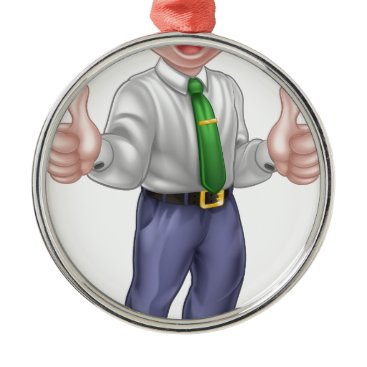 Happy Cartoon Thumbs Up Man Metal Ornament